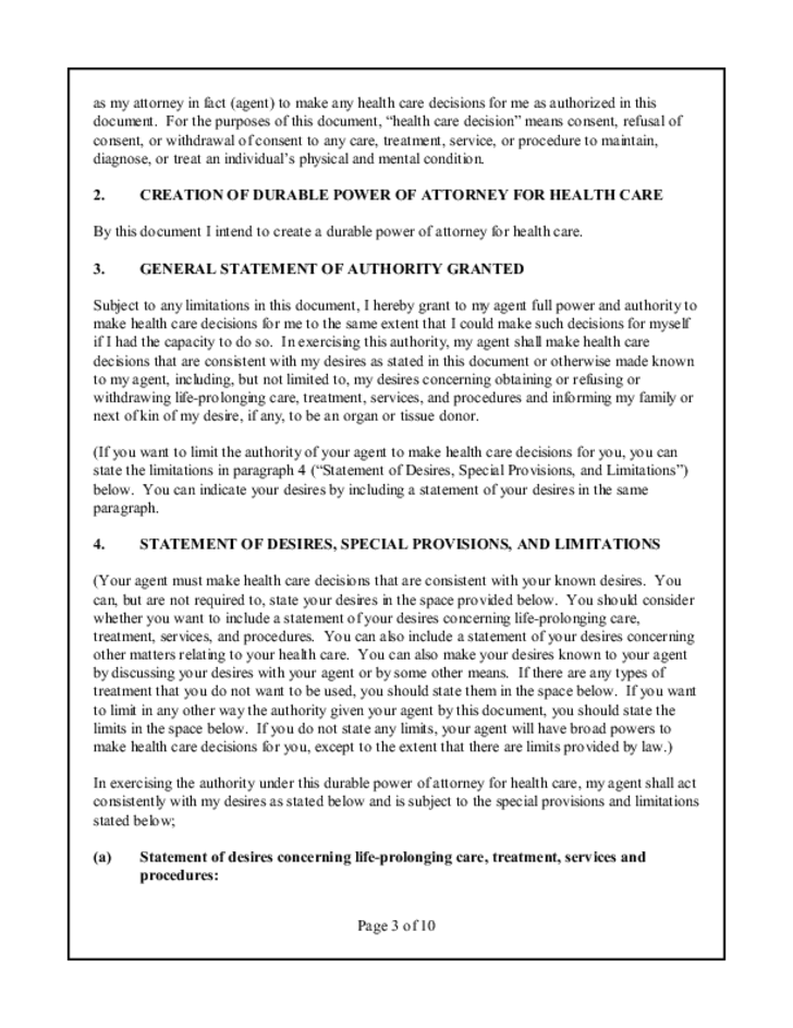 Statutory Form Durable Power of Attorney for Health Care - Rhode Island