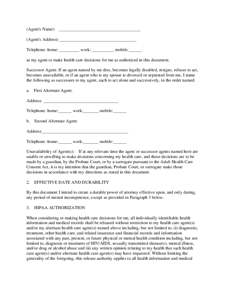 health-care-power-of-attorney-example-south-carolina-l3 Free Medical Power Of Attorney Form For North Carolina on
