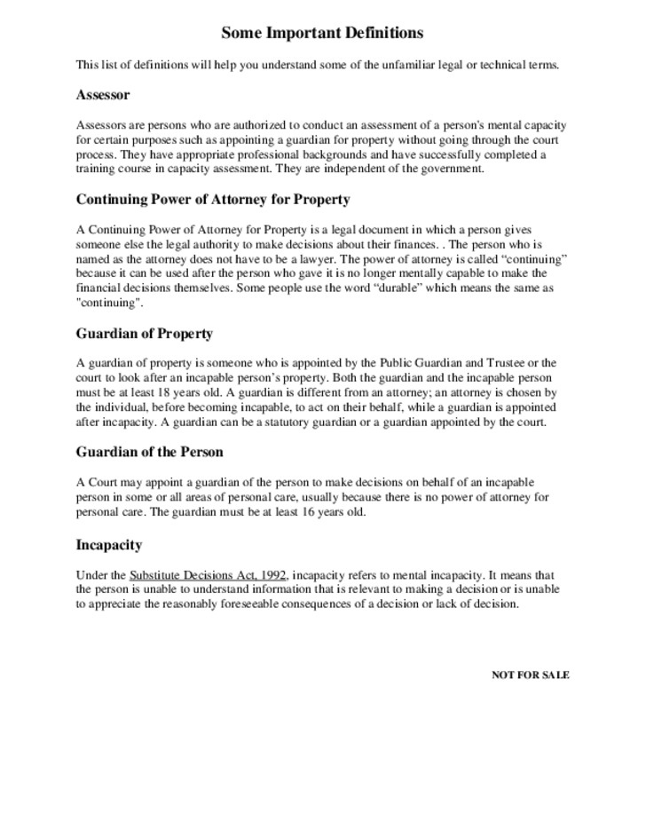 Power of Attorney for Property and Personal Care - Ontario