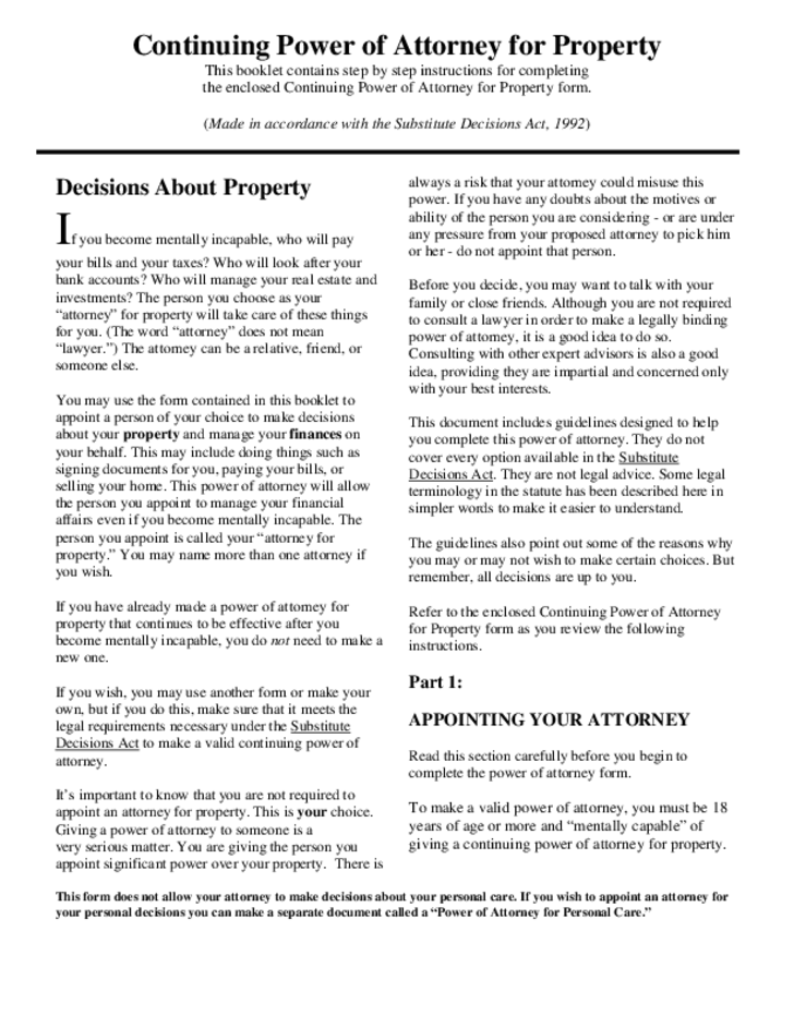 Power Of Attorney For Property And Personal Care Ontario Free Download