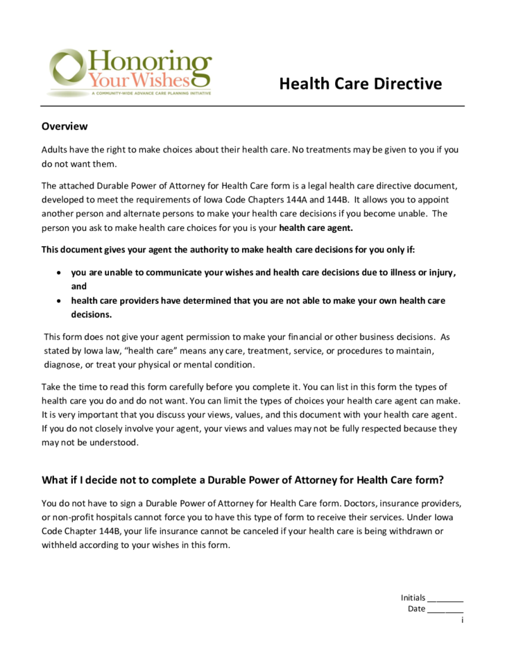 Durable Power of Attorney for Health Care - Iowa