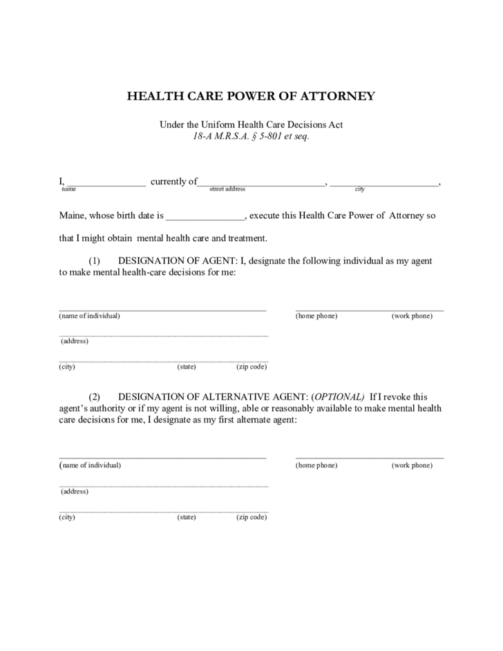 Health Care Power of Attorney - Maine