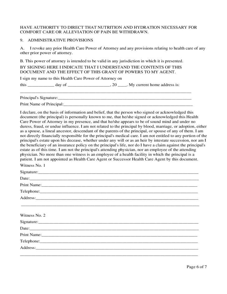 North Carolina Health Care Power of Attorney Form