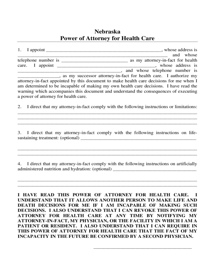 Power of Attorney for Health Care - Nebraska