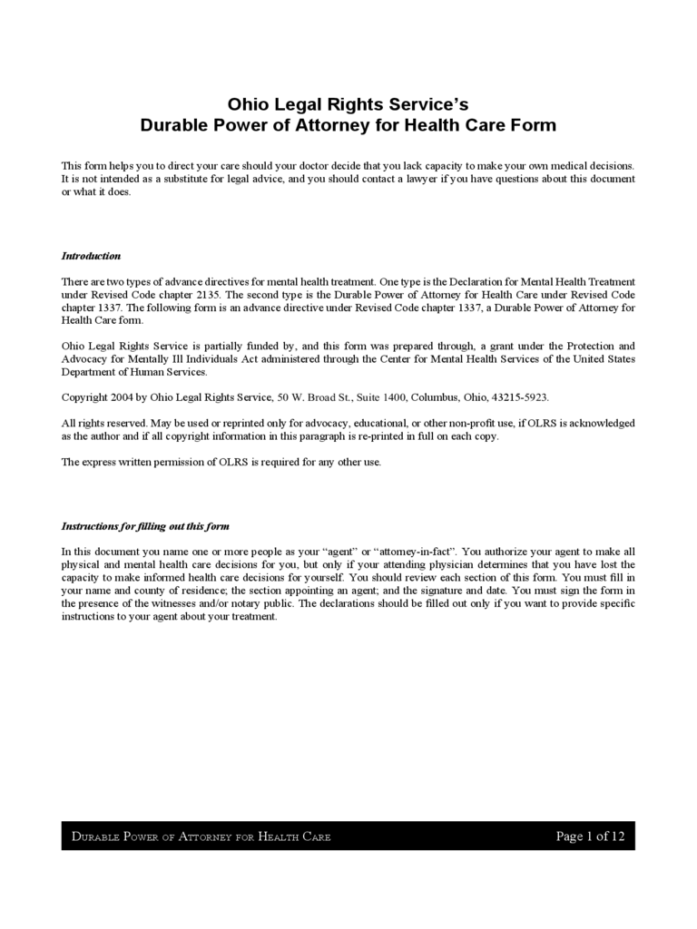 ohio power of attorney form