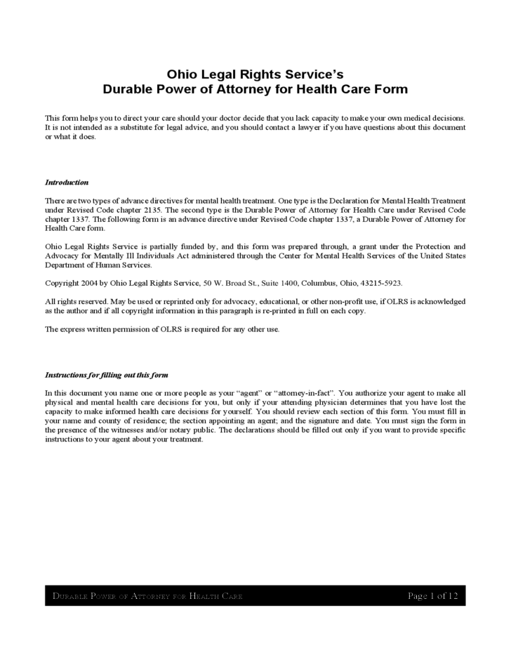 Durable Power of Attorney for Health Care - Ohio
