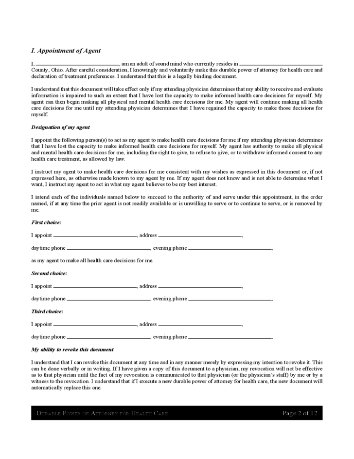 free medical power of attorney form for ohio