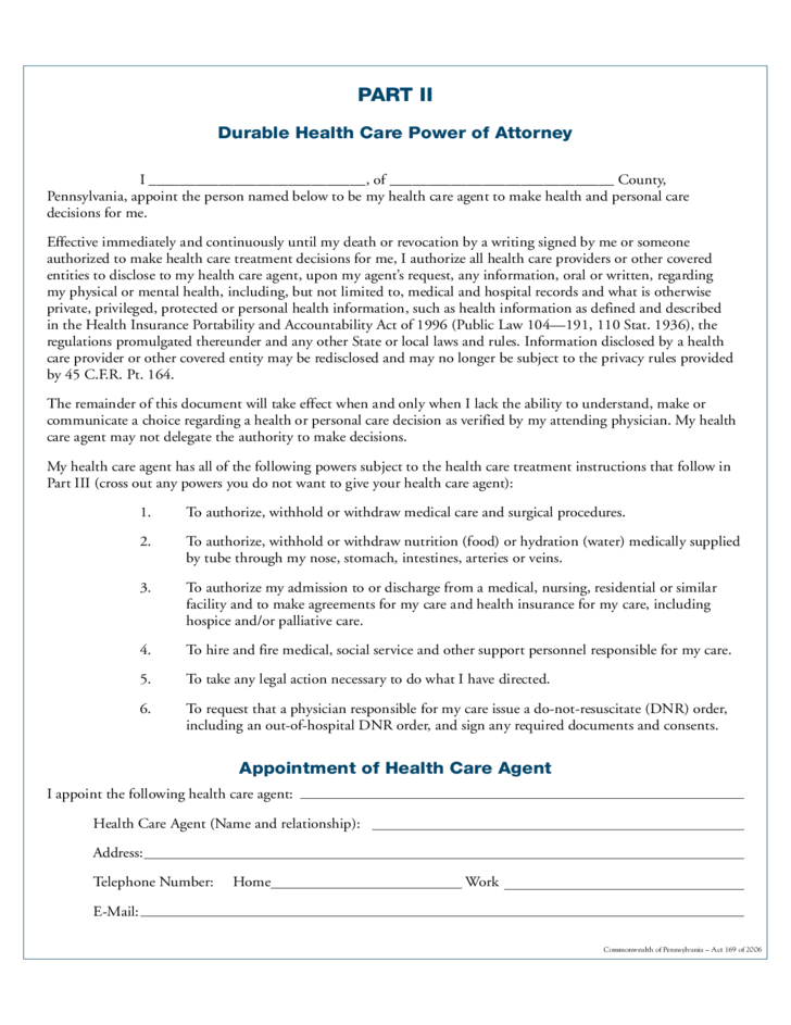 Combined Living Will and Health Care Power of Attorney - Pennsylvania