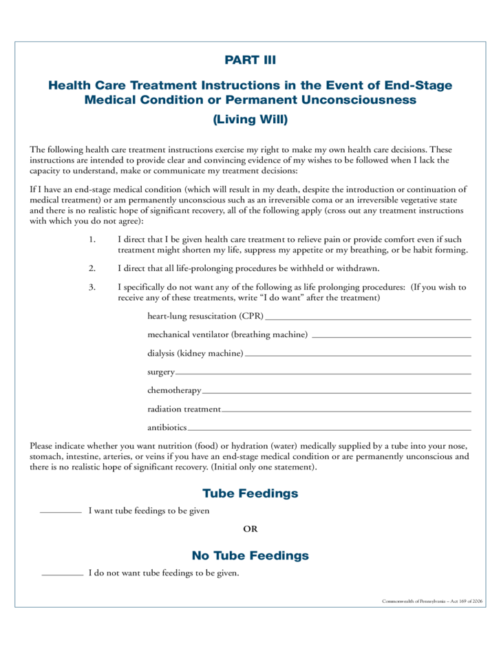 Combined Living Will And Health Care Power Of Attorney - Living will template free