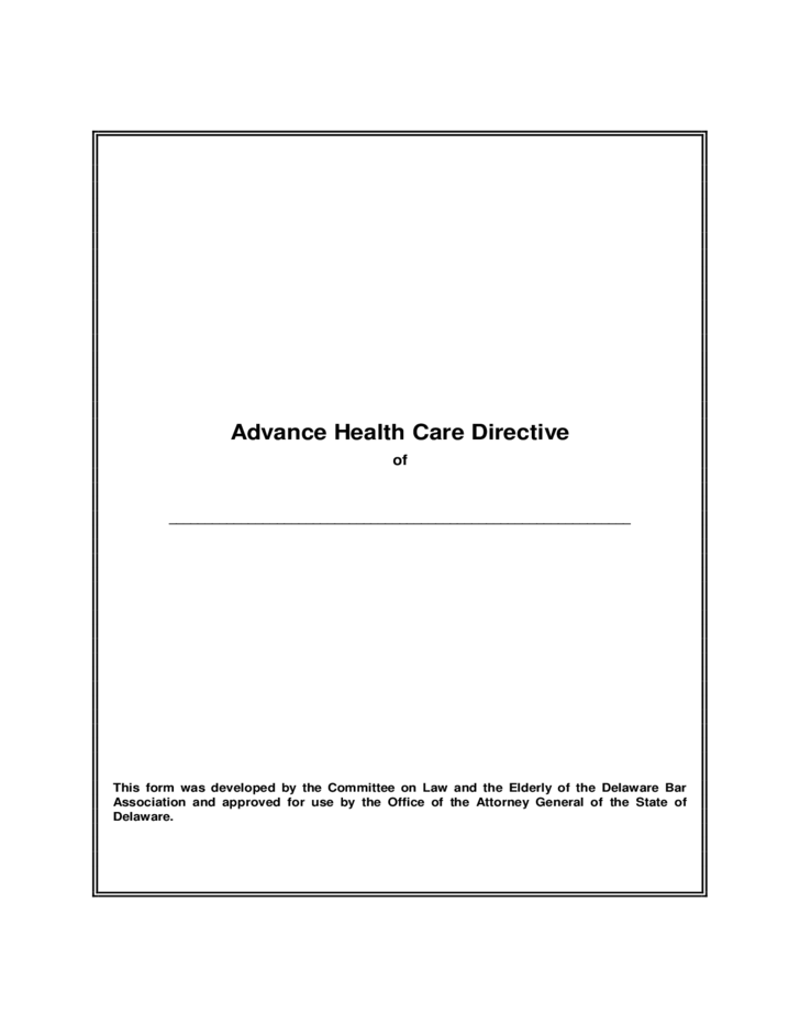 Health Care Power of Attorney Form - Delaware