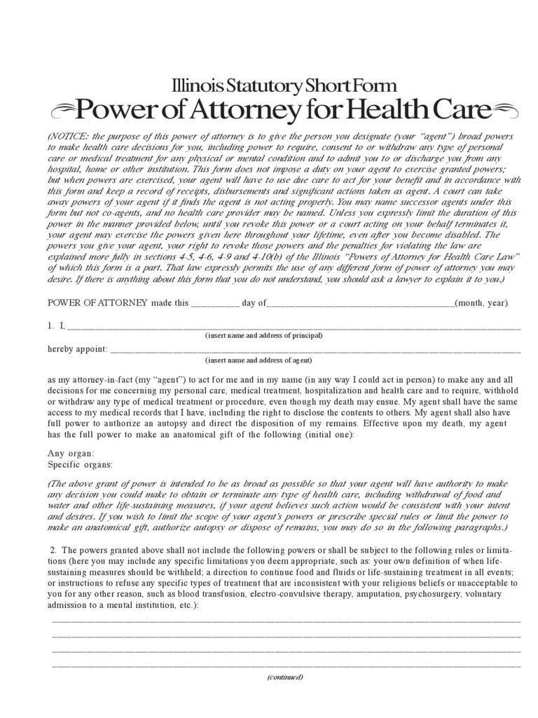 Illinois Statutory Short Form Power of Attorney for Health Care