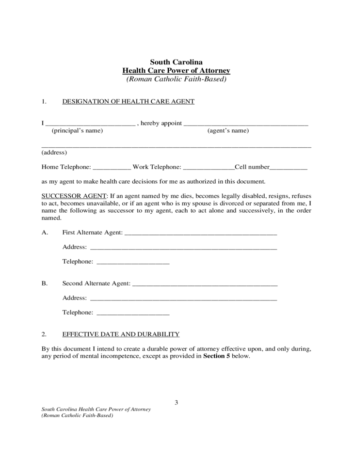 Health Care Power Of Attorney South Carolina Free Download