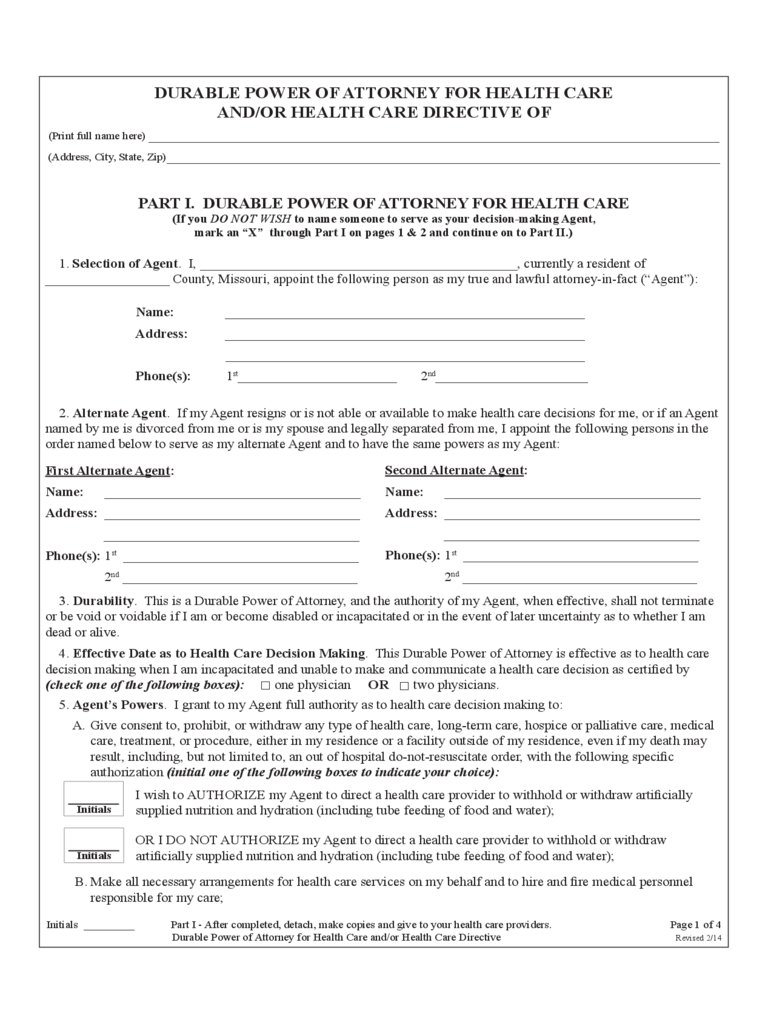 missouri power of attorney form