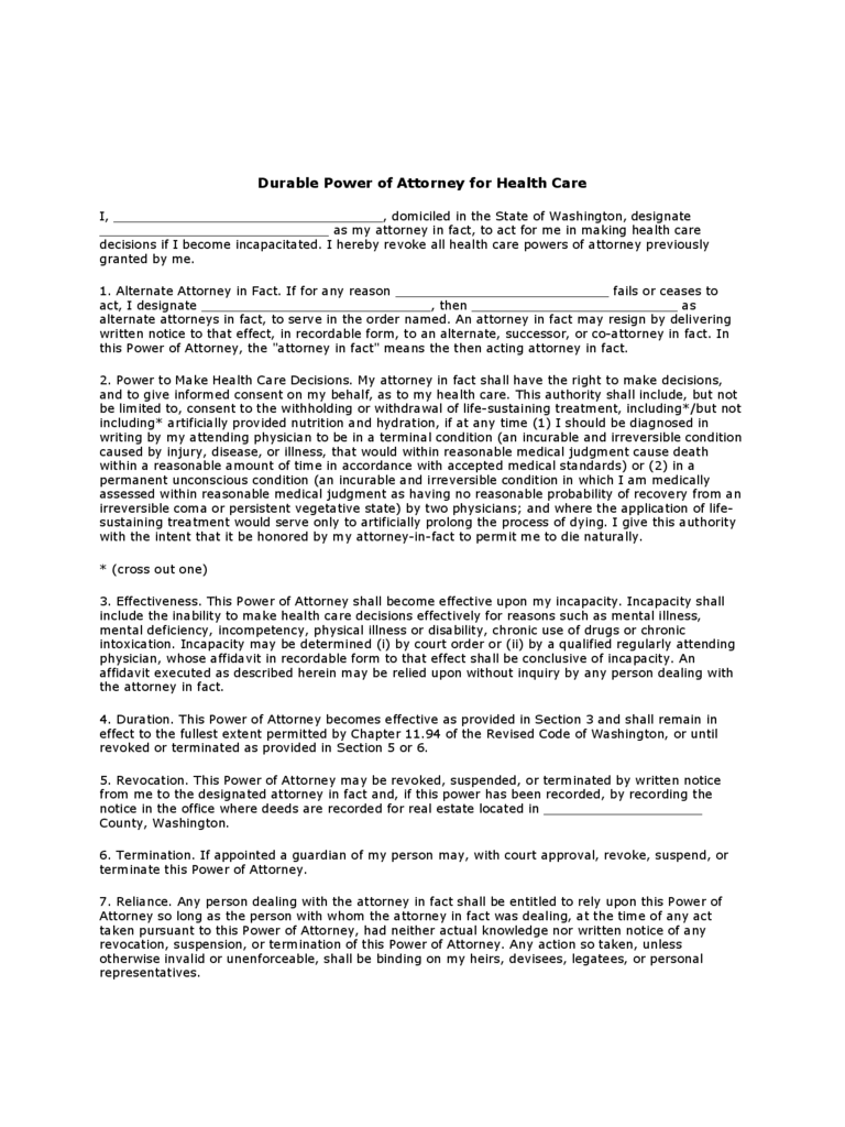 Durable Power of Attorney for Health Care - Washington