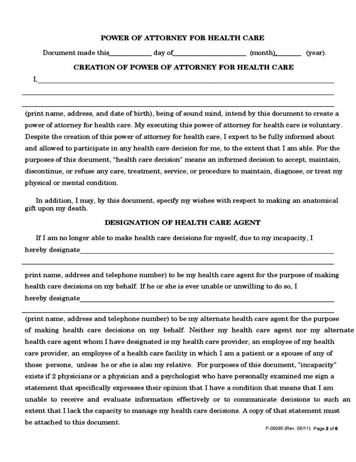 Power of Attorney Form for Health Care - Wisconsin Free Download