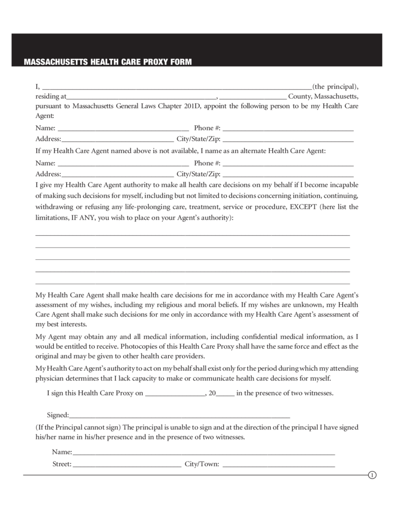 Health Care Proxy Form - Massachusetts
