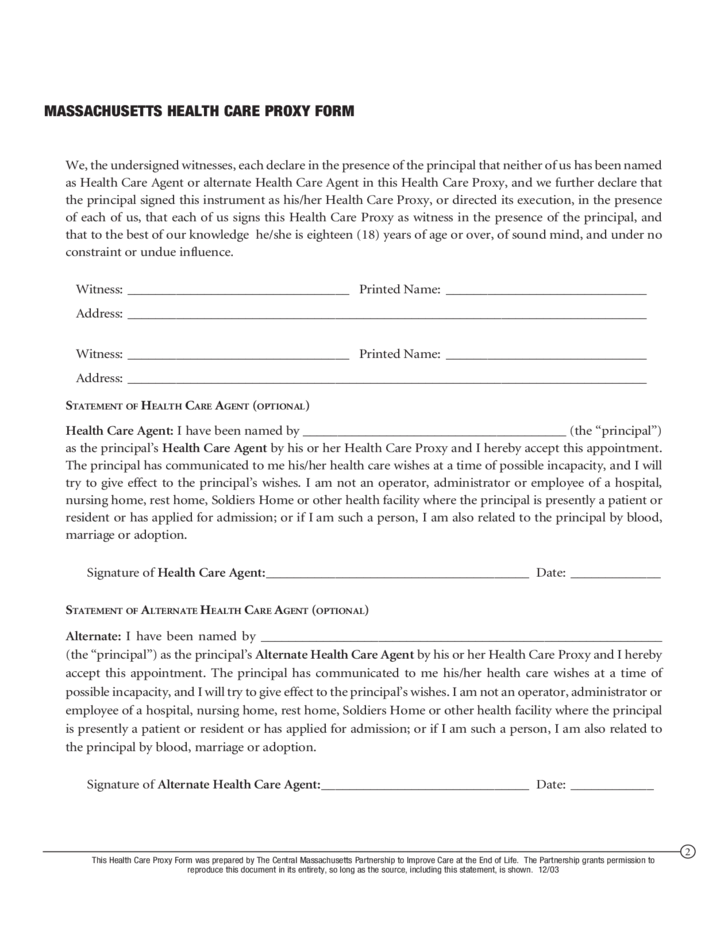 Health Care Proxy Form - Massachusetts Free Download