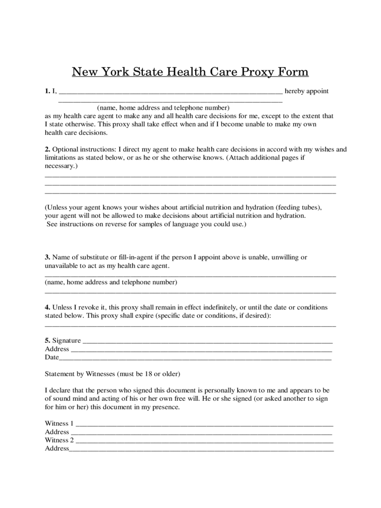 New York State Health Care Proxy Form
