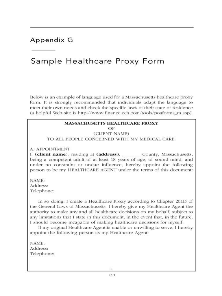 Sample Healthcare Proxy Form - Massachusetts