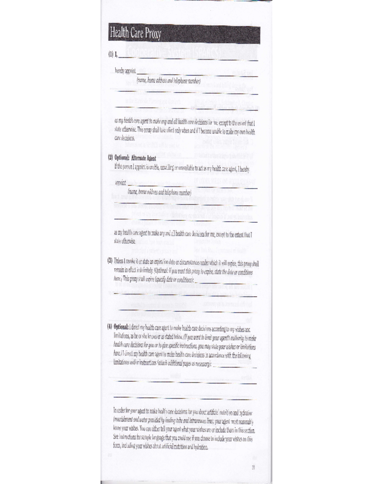 Health Care Proxy Form Instructions - New York