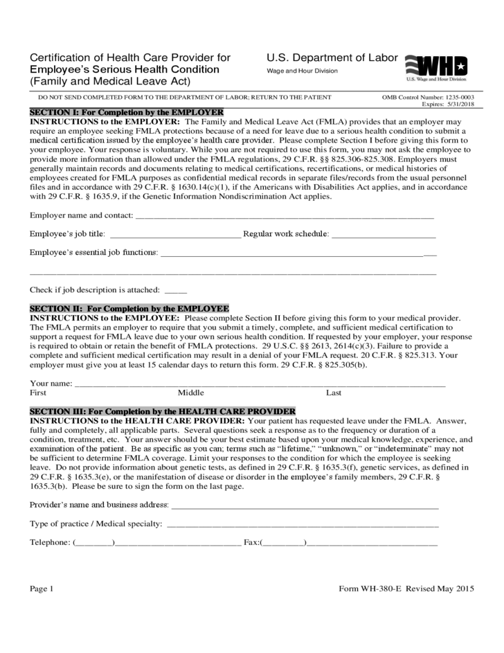 health care provider certification condition serious employee form certificate employees l1