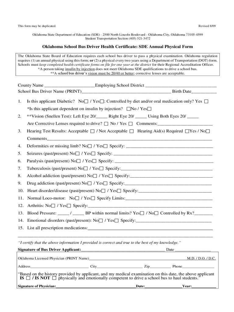 School Bus Driver Health Certificate: SDE Annual Physical Form - Oklahoma