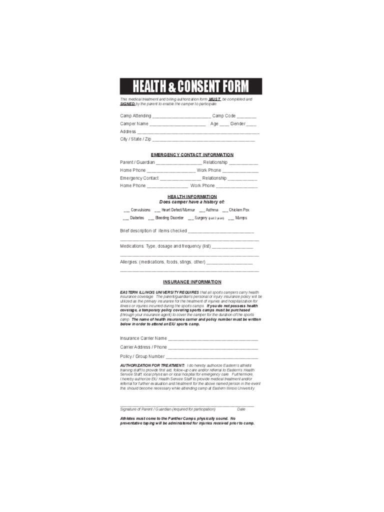 Health and Consent Form Sample