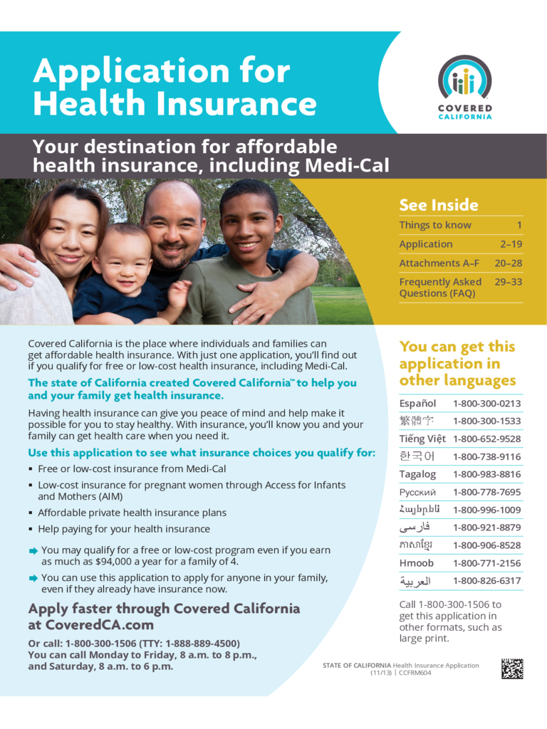 Health Insurance Form - California