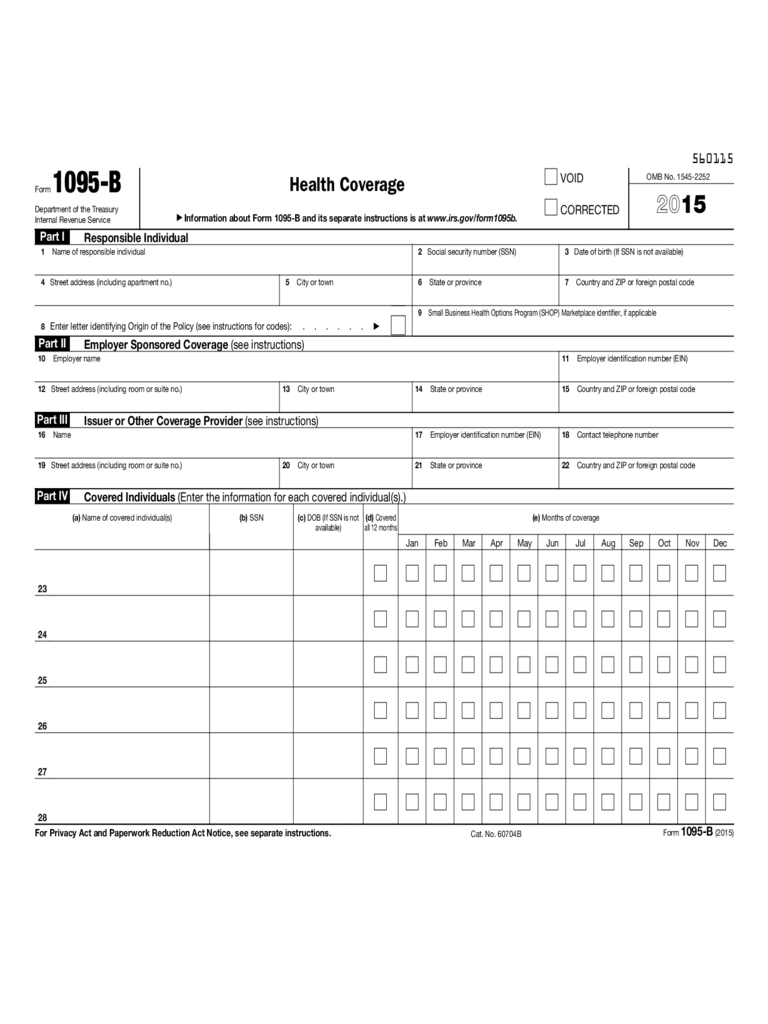 Form 1095-B - Health Coverage (2015)
