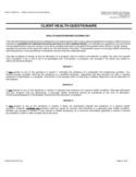 Health Questionnaire Form - California Free Download
