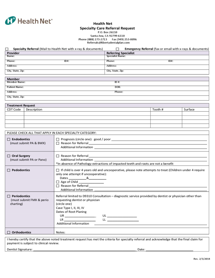 Health Net Specialty Care Referral Request