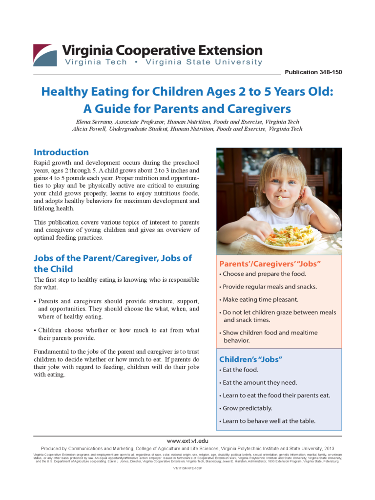 Healthy Eating for Children Ages 2 to 5 Years Old Free Download
