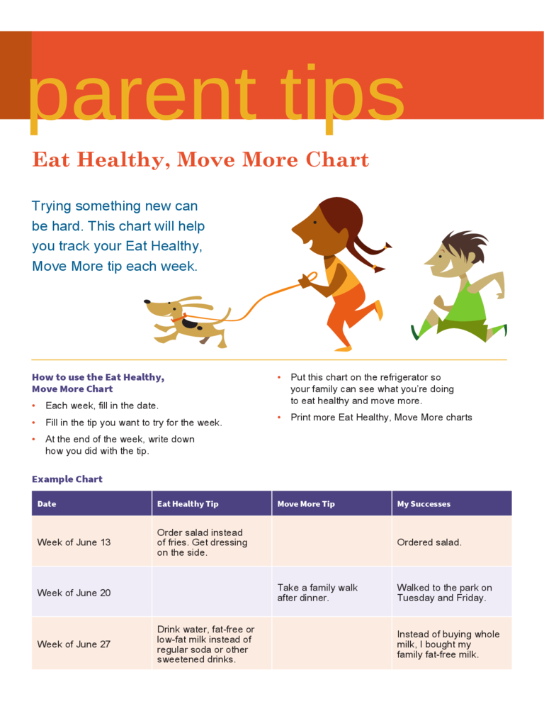 Eat Healthy, Move More Chart Free Download