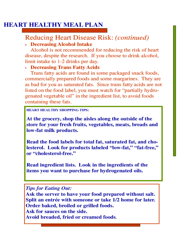 heart health meal plan free download