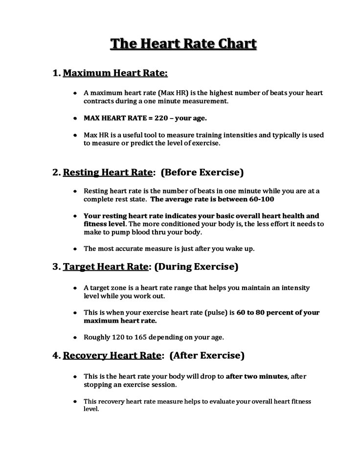 Simple Heart Rate Chart Free Download – Target Heart Rate Worksheet