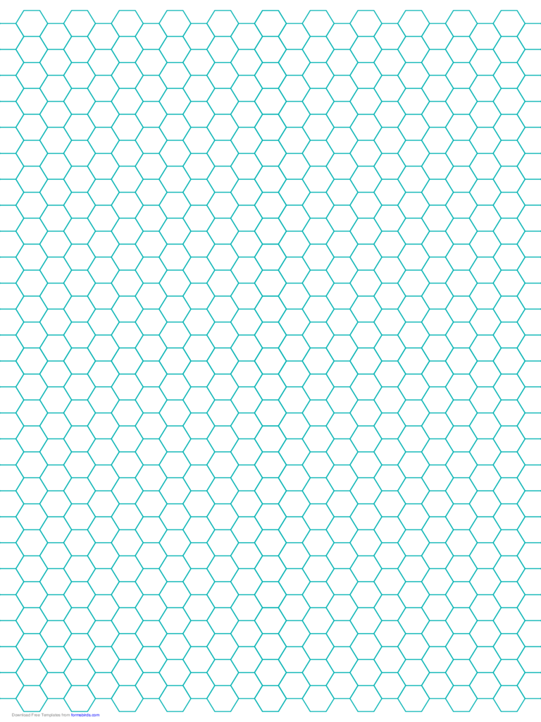 Hexagon Graph Paper with 1/4-Inch Spacing on Letter-Sized Paper