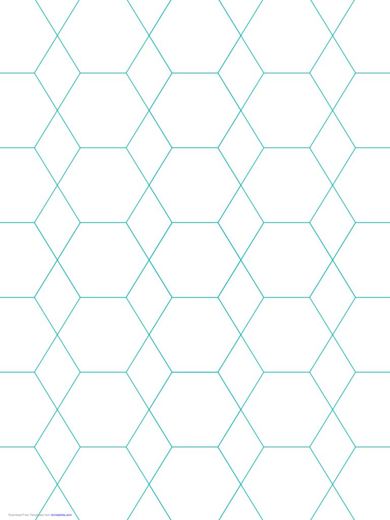 Hexagon and Diamond Graph Paper with 1-Inch Spacing on Letter-Sized Paper