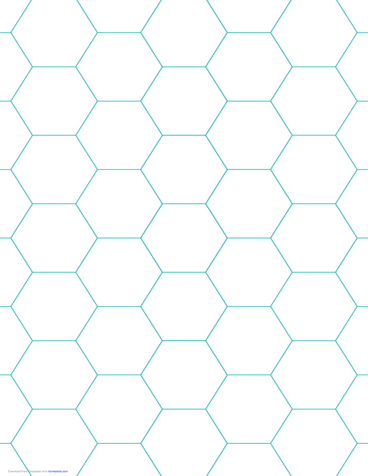 Hexagon Graph Paper with 1-Inch Spacing on Letter-Sized Paper