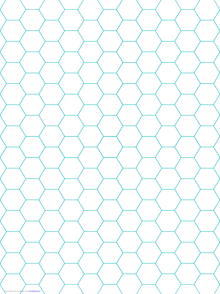 Green Hexagon and Diamond Graph Paper with 1/4-Inch Spacing on Letter-Sized Paper