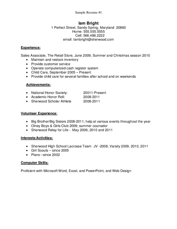 Sample Job Resume For Highschool Graduate