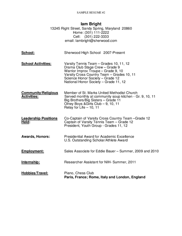 2 sample resume for high school graduate - Resume Template For High School Graduate
