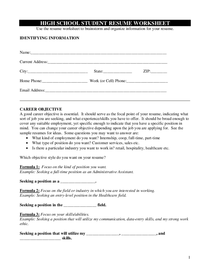 Worksheet Resume Worksheet high school student resume worksheet free download 1 worksheet