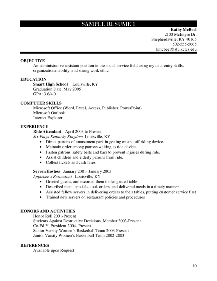 10 high school student resume worksheet - Sample Resume For High School Student