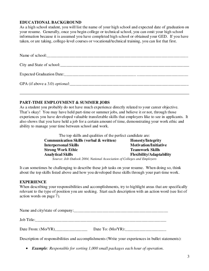 Worksheets For High School Students : High school student resume worksheet free download