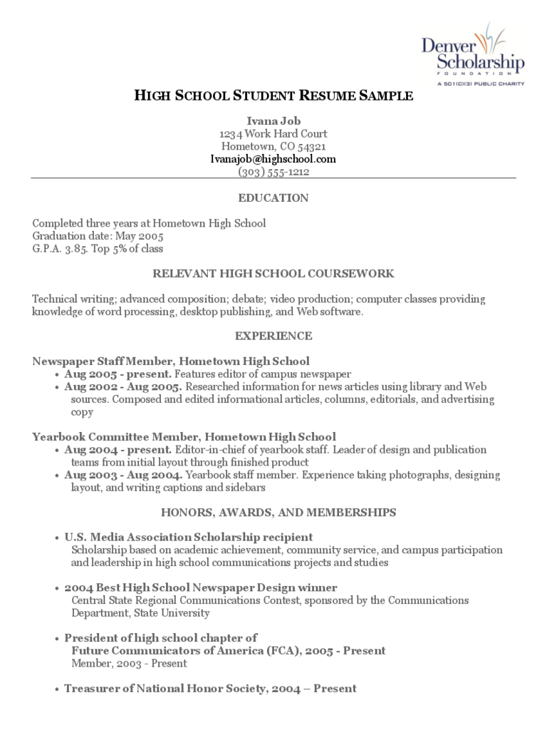 High School Student Resume Sample Free Download