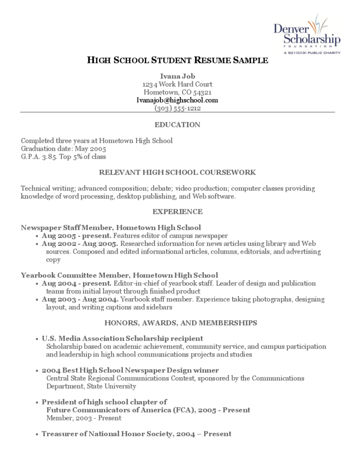 Resume writing for high school student 2013