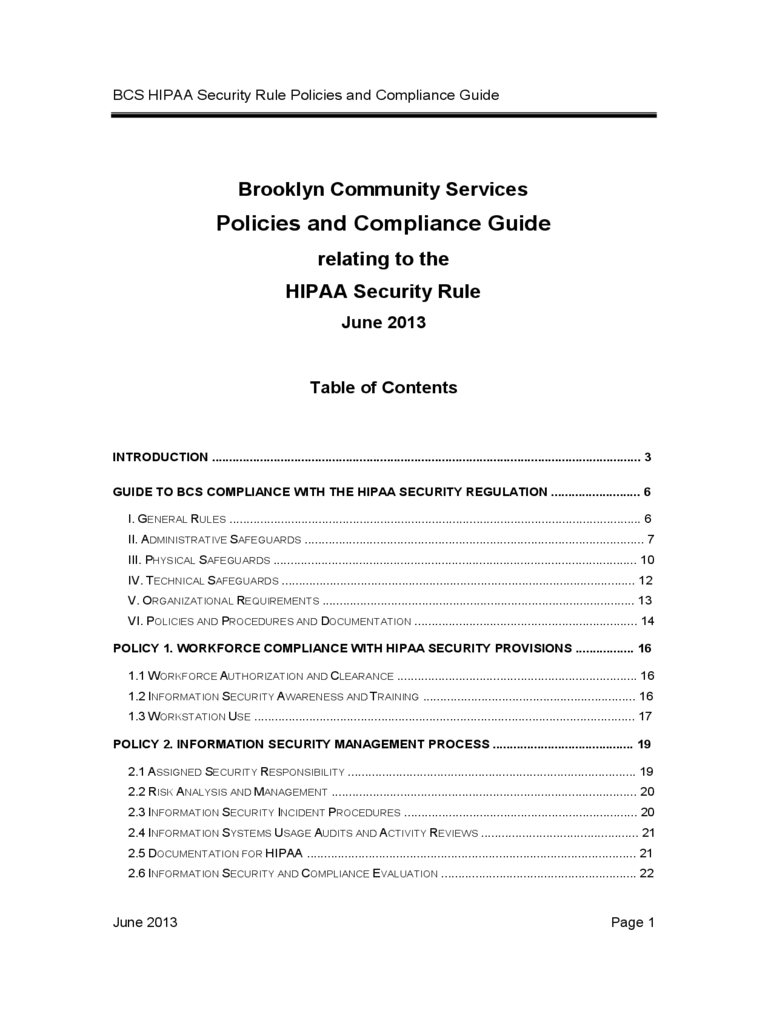 BCS HIPAA Security Rule Policies and Compliance Guide