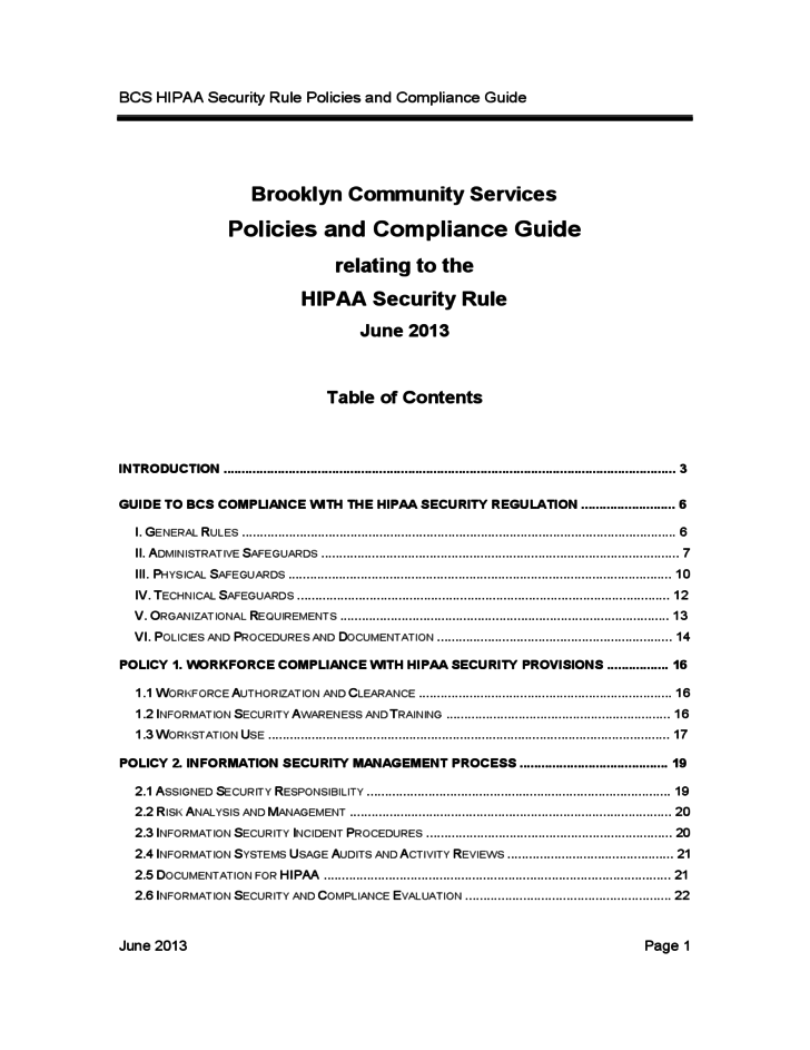 1 bcs hipaa security rule policies and compliance guide