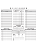 Ice Hockey Score Sheet Free Download