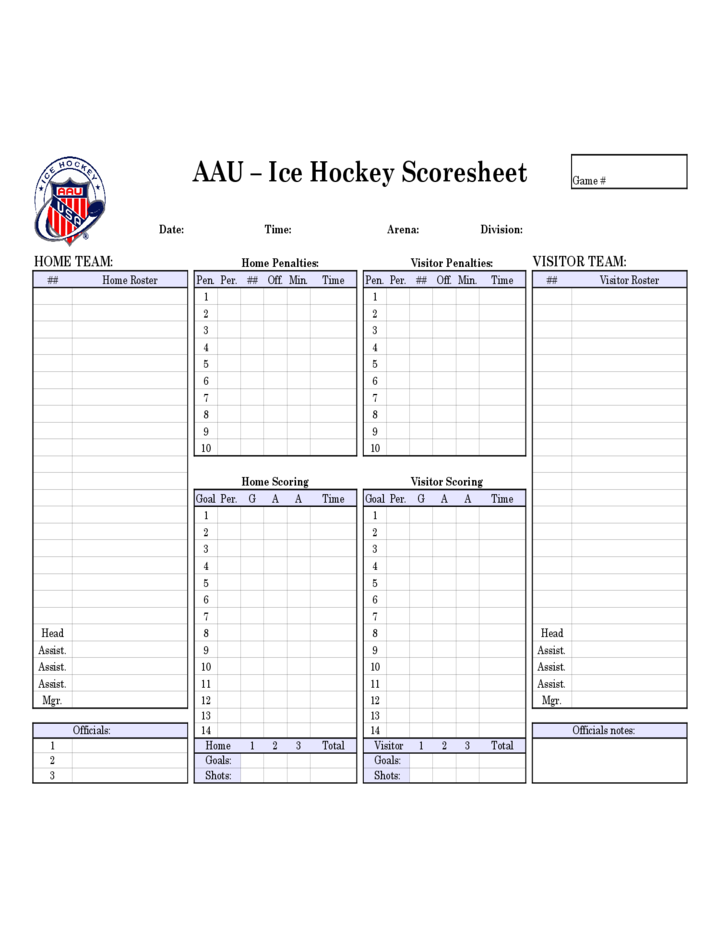 Ice Hockey Score Sheet - AAU Free Download